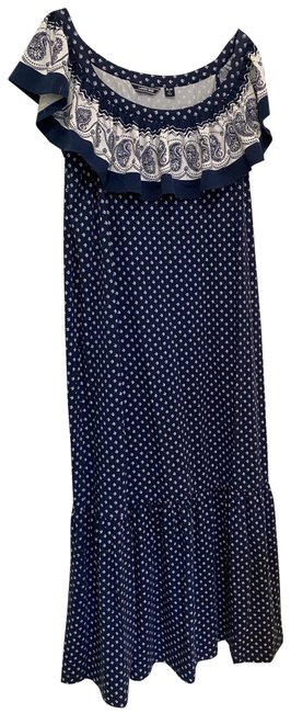 Item - Blue and White With Ruffles Long Casual Maxi Dress Size Petite 14 (L)