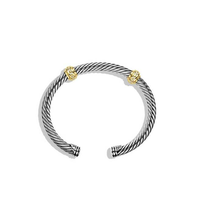 Item - Silver Two Station with 14k Yellow Gold 5mm Bracelet