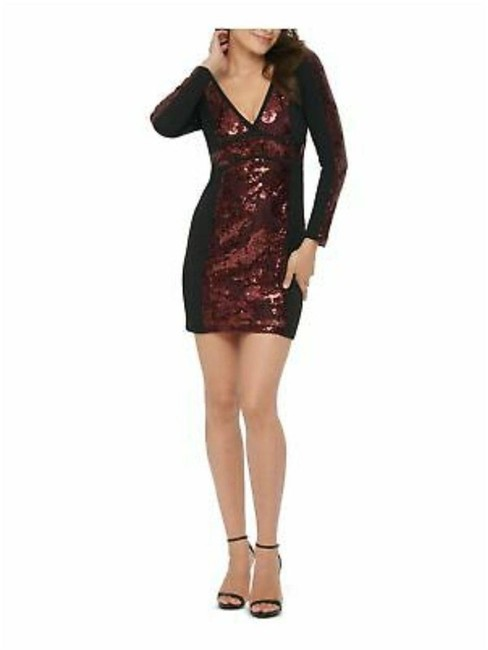 Item - Black Burgundy Womens Red Long Sleeve V Neck Mini Body Con Cocktail Short Night Out Dress Size 6 (S)