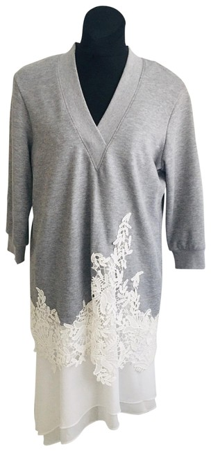 Item - Grey with Off White Camisole Sweatshirt Lace Mid-length Short Casual Dress Size 8 (M)