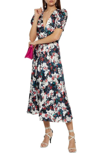Item - Ivory Lea Silk Floral Midi In Floella Mid-length Cocktail Dress Size 2 (XS)