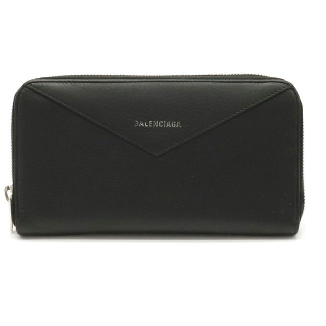 Item - Black Paper Continental Round Leather 504547 Wallet