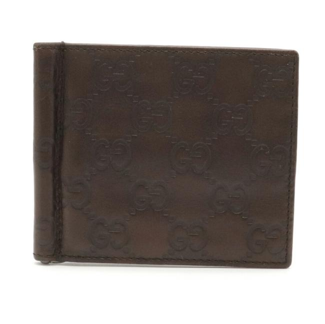 Item - Brown Shima Bi-fold Card Case with Money Clip Leather 170580 Wallet