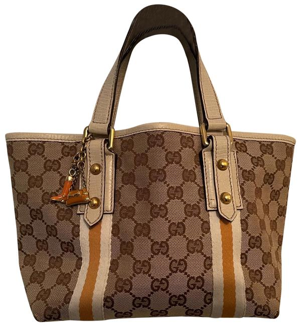 Item - With Charm Tan Brown & Yellow Cloth Leather Tote