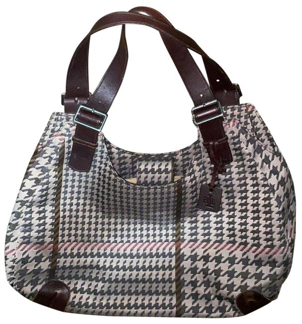 Item - Houndstooth Leather Trim Brown and Khaki Canvas Satchel