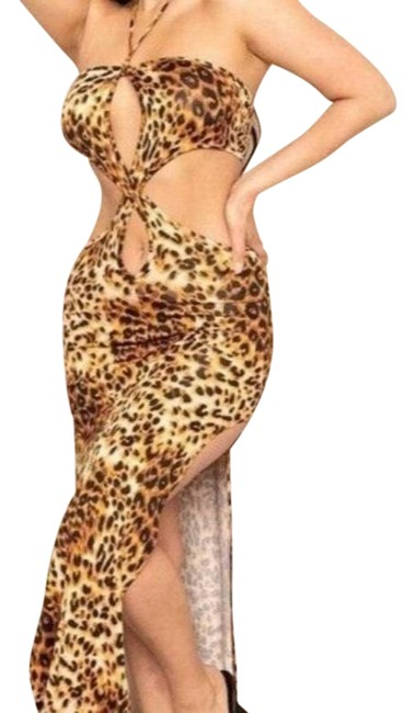 Item - Leopard Maxi with Cut Design Long Night Out Dress Size 4 (S)