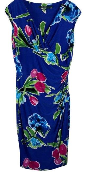 Item - Blue Pink None Mid-length Work/Office Dress Size 8 (M)