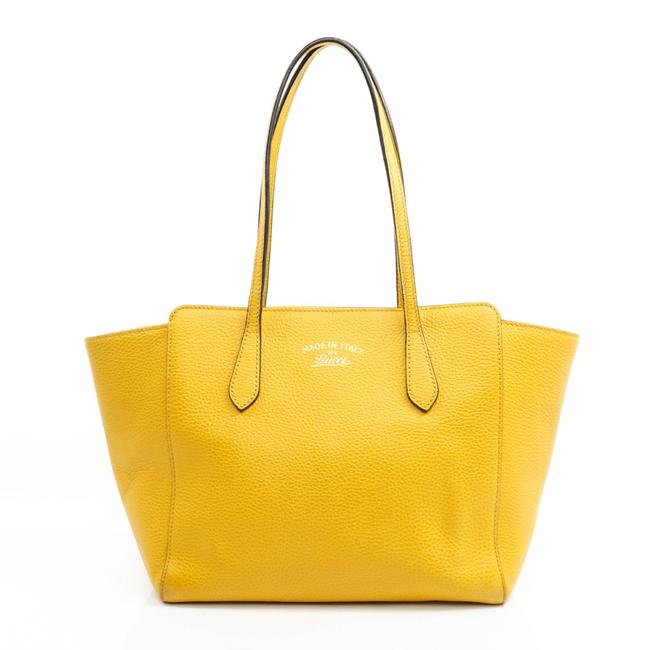 Item - Tote Leather #19076g33 Yellow Shoulder Bag
