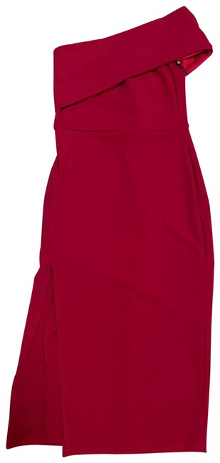 Item - Red Stretchable Small Mid-length Short Casual Dress Size 4 (S)