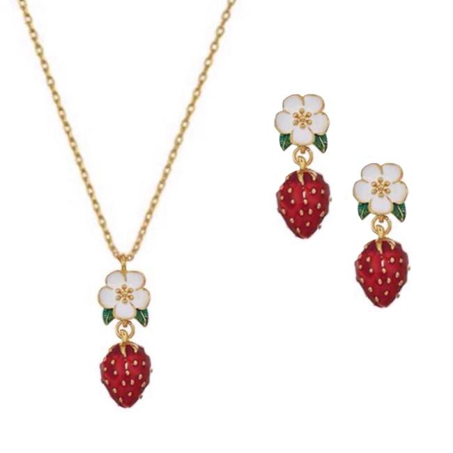 Item - Red/Gold • Strawberry Earrings Set Necklace