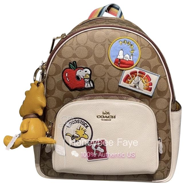 Item - Peanuts Court In Signature Canvas with Varsity Patche Im/Khaki Chalk Multi Leather Backpack