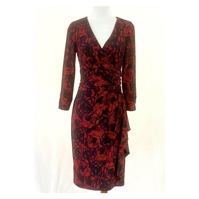 Item - Red Floral Faux Wrap Draped Ruffle Mid-length Work/Office Dress Size 8 (M)