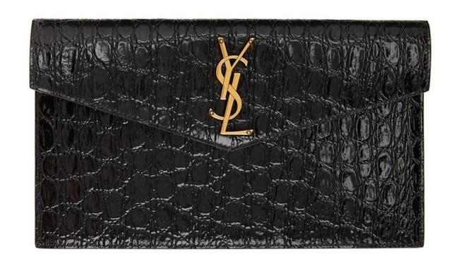 Item - Monogram New Ysl Envelope Pouch New Black Leather Clutch