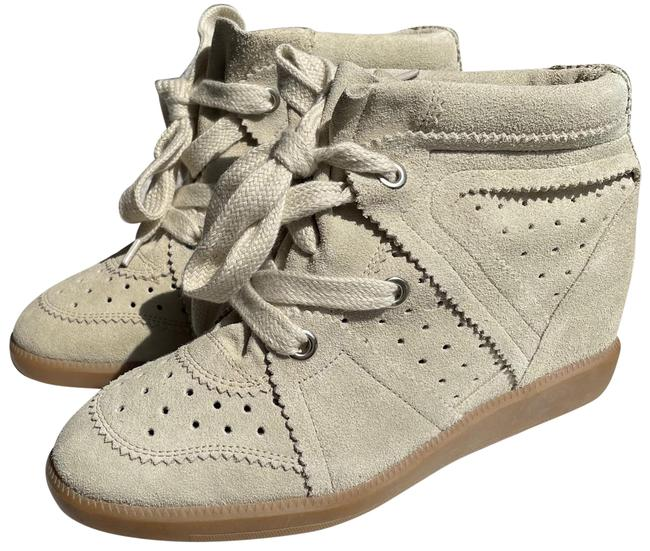 Item - Cream/Light Grey Lace-up Suede Sneakers Size EU 38 (Approx. US 8) Regular (M, B)