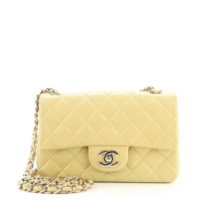 Item - Classic Flap Classic Single Quilted Lambskin Mini Yellow Leather Cross Body Bag
