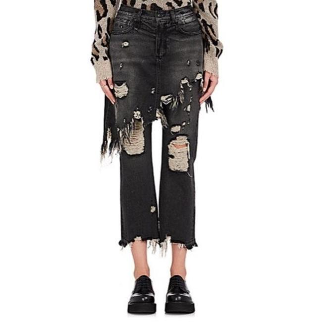 Item - Black Distressed Double Classic Skirted Capri/Cropped Jeans Size 25 (2, XS)