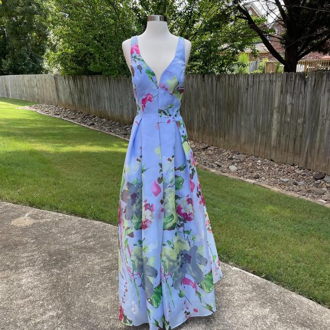 Item - Blue Pink Cross Back Ball Gown In Periwinkle Long Formal Dress Size 10 (M)