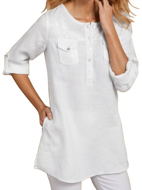 Item - White Linen and Sequin Tunic Size 2 (XS)