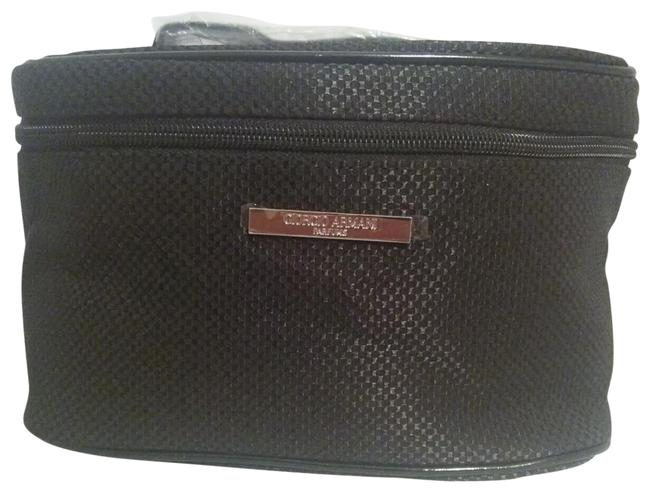Item - Cosmetics Pouch Black Printed Satin Weekend/Travel Bag