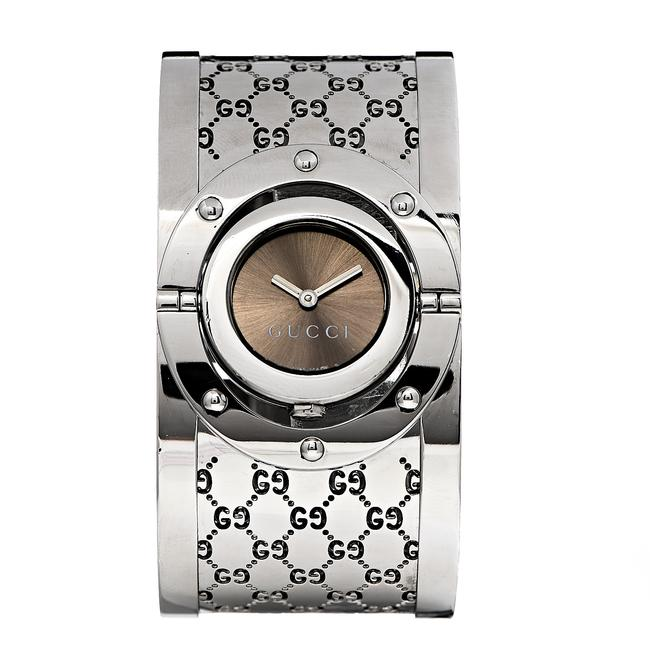 Item - Silver Stainless Steel Bangle Twirl Brown Dial Watch