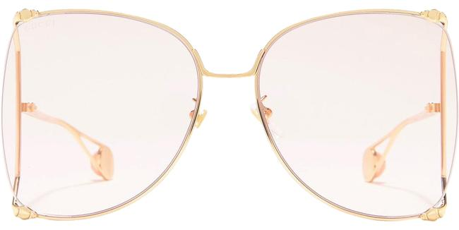 Item - Pink and Gold Eyewear Oversized Butterfly-frame Sunglasses