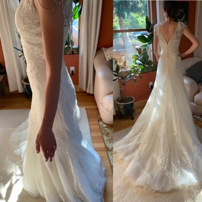Item - Ivory Tulle By Pronovias Couture Bridal Beaded Gown Traditional Wedding Dress Size 2 (XS)