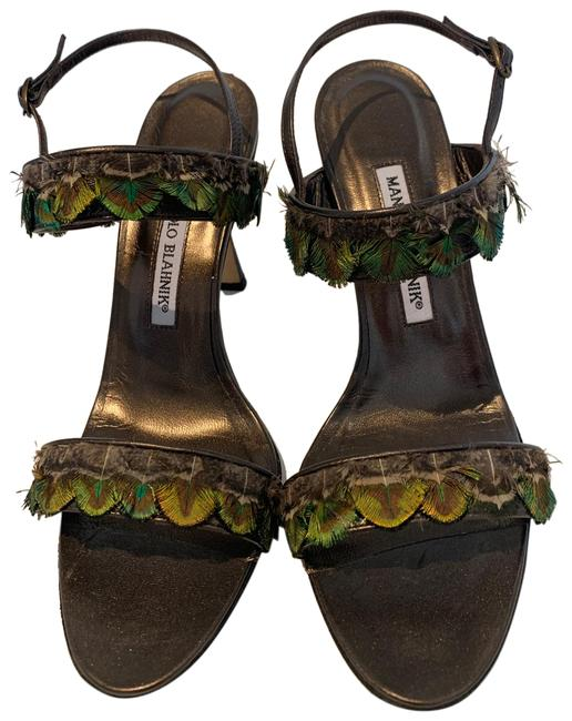 Item - Brown Leather Peacock Green Feather Sandals Size US 8.5 Regular (M, B)