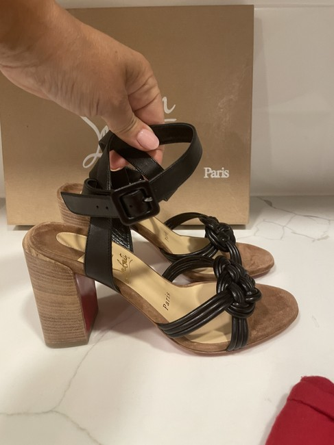 Christian Louboutin Black Ella 85 Braided Leather Strappy Wooden Heels Sandals Size EU 41.5 (Approx. US 11.5) Regular (M, B) Christian Louboutin Black Ella 85 Braided Leather Strappy Wooden Heels Sandals Size EU 41.5 (Approx. US 11.5) Regular (M, B) Image 3