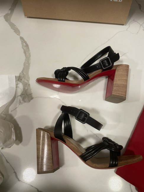 Christian Louboutin Black Ella 85 Braided Leather Strappy Wooden Heels Sandals Size EU 41.5 (Approx. US 11.5) Regular (M, B) Christian Louboutin Black Ella 85 Braided Leather Strappy Wooden Heels Sandals Size EU 41.5 (Approx. US 11.5) Regular (M, B) Image 5