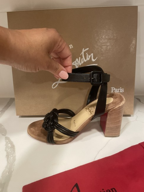 Christian Louboutin Black Ella 85 Braided Leather Strappy Wooden Heels Sandals Size EU 41.5 (Approx. US 11.5) Regular (M, B) Christian Louboutin Black Ella 85 Braided Leather Strappy Wooden Heels Sandals Size EU 41.5 (Approx. US 11.5) Regular (M, B) Image 8