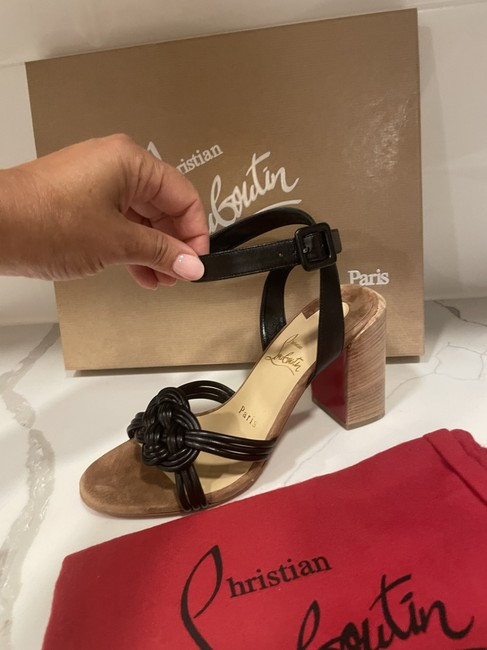 Christian Louboutin Black Ella 85 Braided Leather Strappy Wooden Heels Sandals Size EU 41.5 (Approx. US 11.5) Regular (M, B) Christian Louboutin Black Ella 85 Braided Leather Strappy Wooden Heels Sandals Size EU 41.5 (Approx. US 11.5) Regular (M, B) Image 10