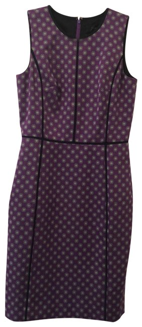 Item - Purple with Design Tall Af085 Mid-length Work/Office Dress Size 8 (M)