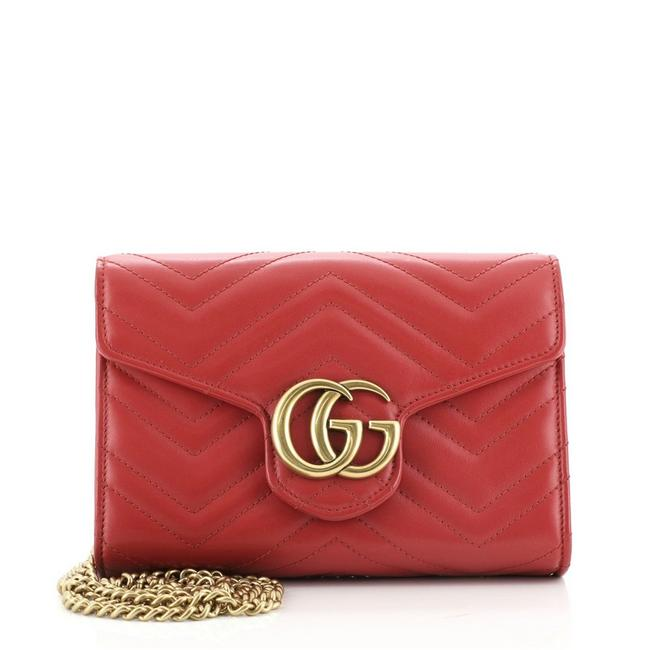 Item - Chain Wallet Marmont Gg Matelasse Mini Red Leather Cross Body Bag