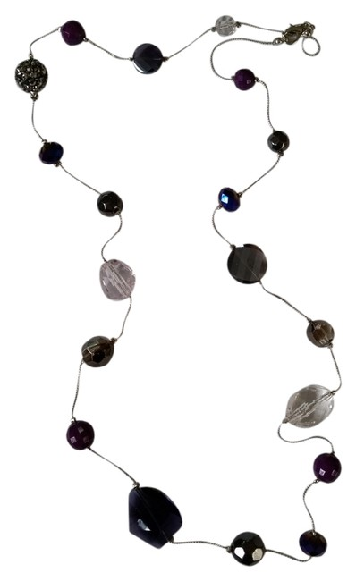 Item - Silver Tone and Purple Beaded Necklace