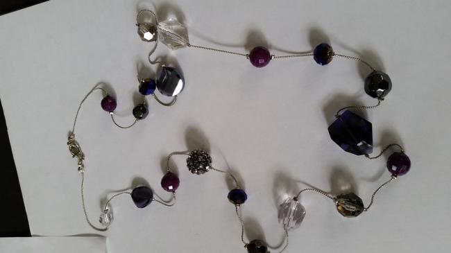 Ann Taylor LOFT Silver Tone and Purple Beaded Necklace Ann Taylor LOFT Silver Tone and Purple Beaded Necklace Image 4