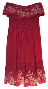 Double Zero short dress Red With Cream Embroidery on Tradesy