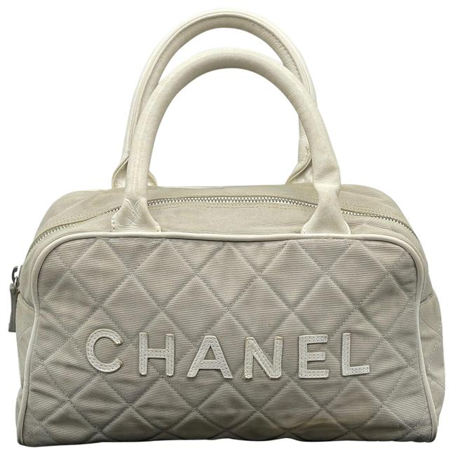 Item - Bowling Bag Mini Boston Doctor White Grey Sports Line Quilted Canvas Satchel