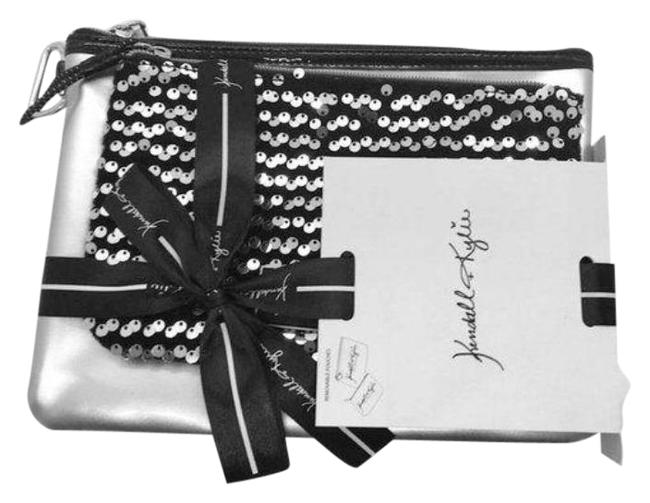 Item - Velvet Cosmetic Black Silver Patent Leather Clutch