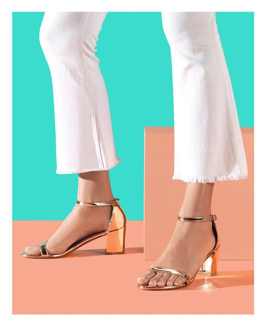 Item - Gold Simple Ankle Strap Chunky Mettalic (Se32 Sandals Size US 7 Regular (M, B)