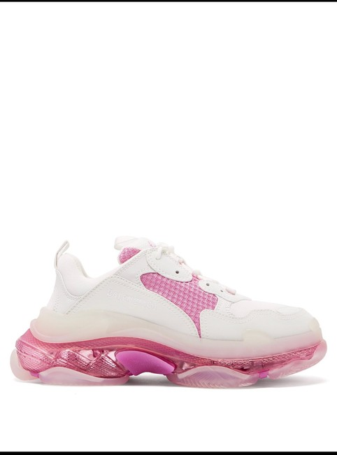 Item - White/Pink Triple S Leather Clear Sole Sneakers Size US 12 Regular (M, B)