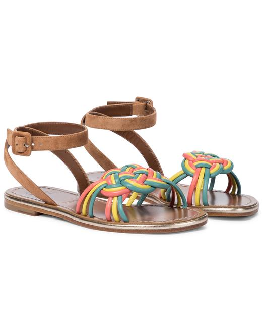 Item - Multicolor Ella Braided Leather Suede Strappy Flat Sandals Size EU 35 (Approx. US 5) Regular (M, B)
