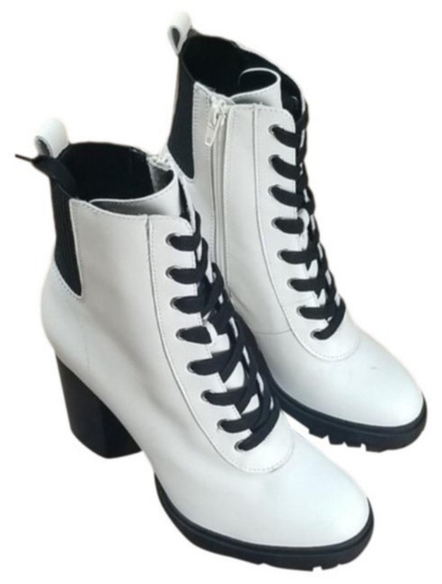 Item - Black White Women's Latch Lace-up Hiker Boots/Booties Size US 8.5 Regular (M, B)