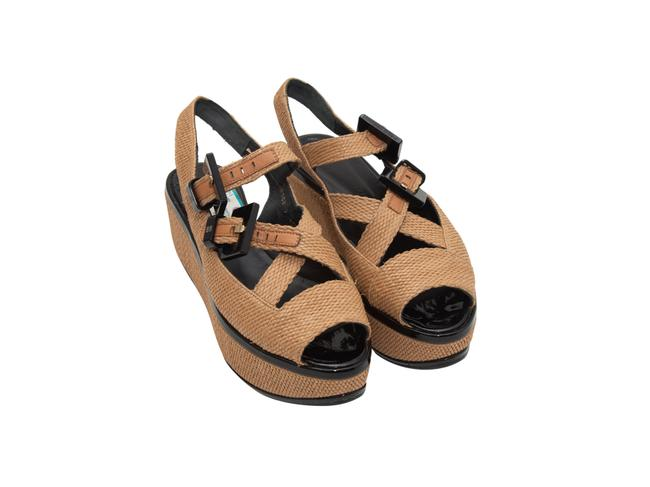 Item - Tan And Black Straw and Leather Platform Sandals Wedges Size US 10 Regular (M, B)