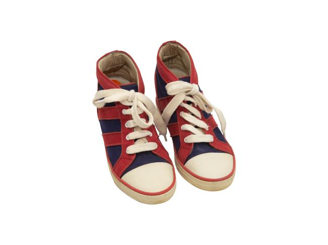 Item - Red And Navy Suede Hidden Wedge Sneakers Size US 11 Regular (M, B)