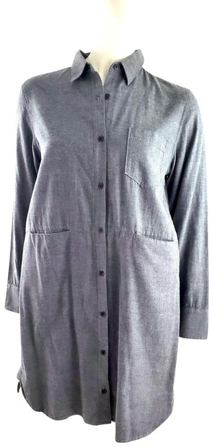 Item - Gray Cotton Long Sleeve Button Up Short Casual Dress Size 4 (S)