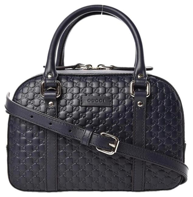 Item - Crossbody New Gg Embossed Satchel Navy Blue Leather Tote