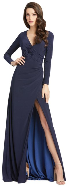 Item - Midnight Blue Jersey 35685 Sleeve Ruched Gown Long Formal Dress Size 10 (M)