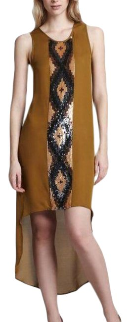 Item - Yellow Gold Mustard Sequin High-lo Sleeveless Silk Mid-length Casual Maxi Dress Size 4 (S)