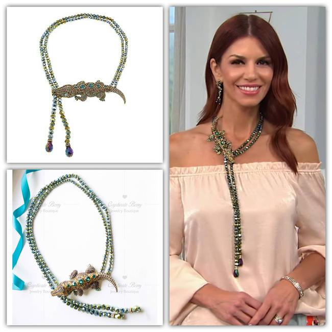 Item - Green Ali-gorgeous Beaded Crystal Drop Necklace