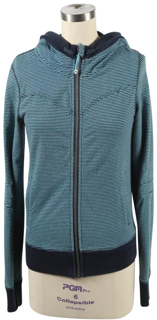 Item - Blue Striped Hooded Activewear Outerwear Size 6 (S)
